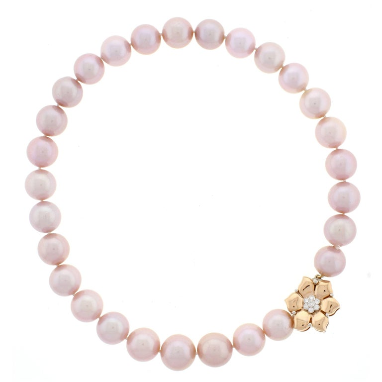 Natural Pink Pearl Necklace For Sale