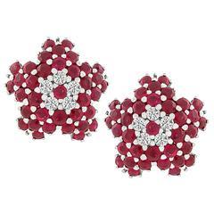 Charming Ruby Diamond Gold Star Earrings