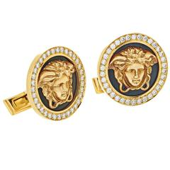 Versace Black Enamel Diamond Gold Cufflinks