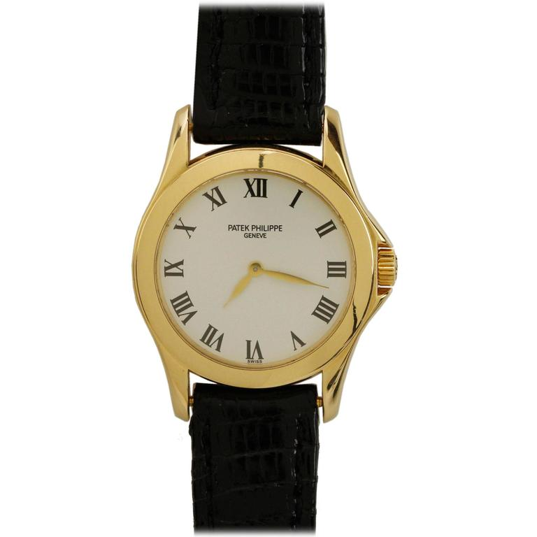 Patek Philippe Ladies Yellow Gold Calatrava Wristwatch Ref 4905 1