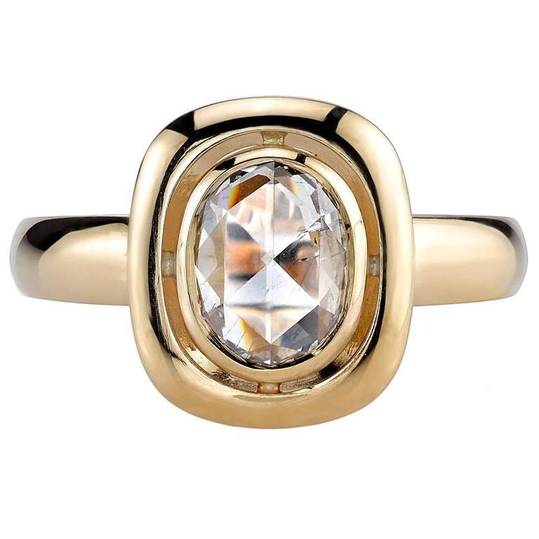 1.10 Carat Oval Rose Cut Diamond Gold Engagement Ring 1