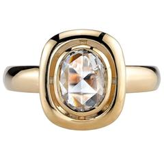 1.10 Carat Oval Rose Cut Diamond Gold Engagement Ring