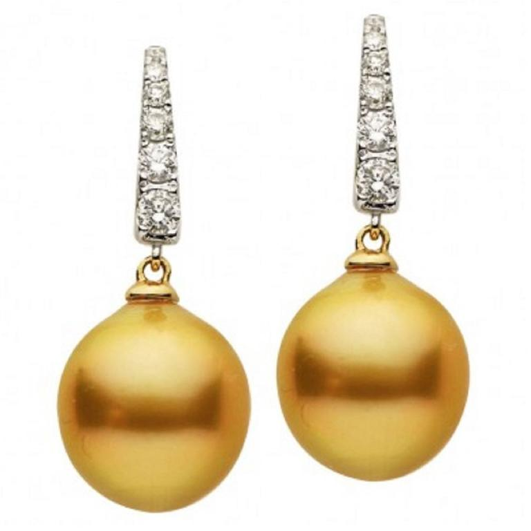 Golden South Sea Pearl Diamond Gold Earrings For Sale