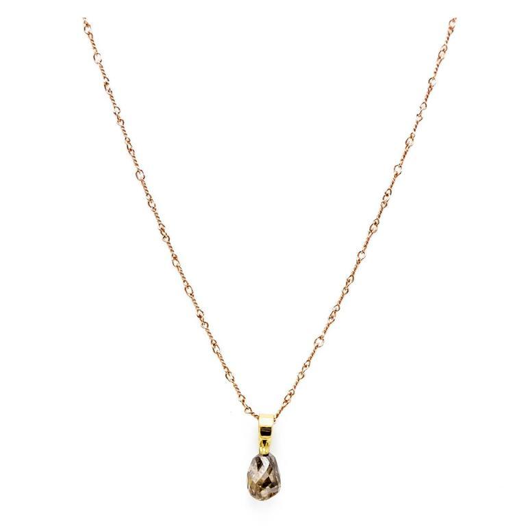 Brown Diamond Briolette Gold Pendant