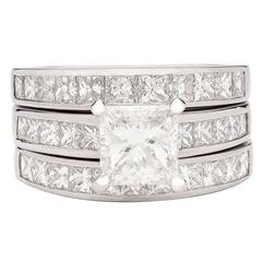 Contemporary GIA Cert Princess Diamond Platinum Wedding Set