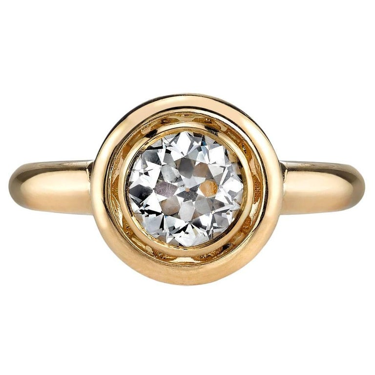 Handcrafted Luca Old European Cut Diamond Ring by Single Stone For Sale