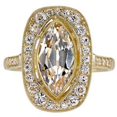 1.59 Carat GIA Cert Marquise Cut Diamond Gold Engagement Ring