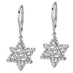 Merkaba Diamond Platinum Lever Back Drop Earrings