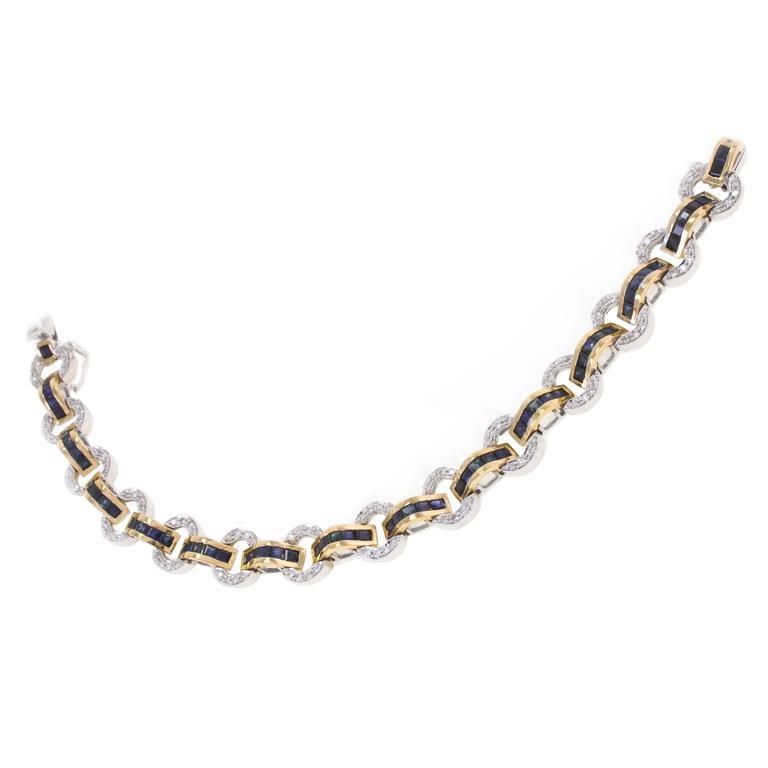 Sapphire Diamond Two Color Gold Bracelet