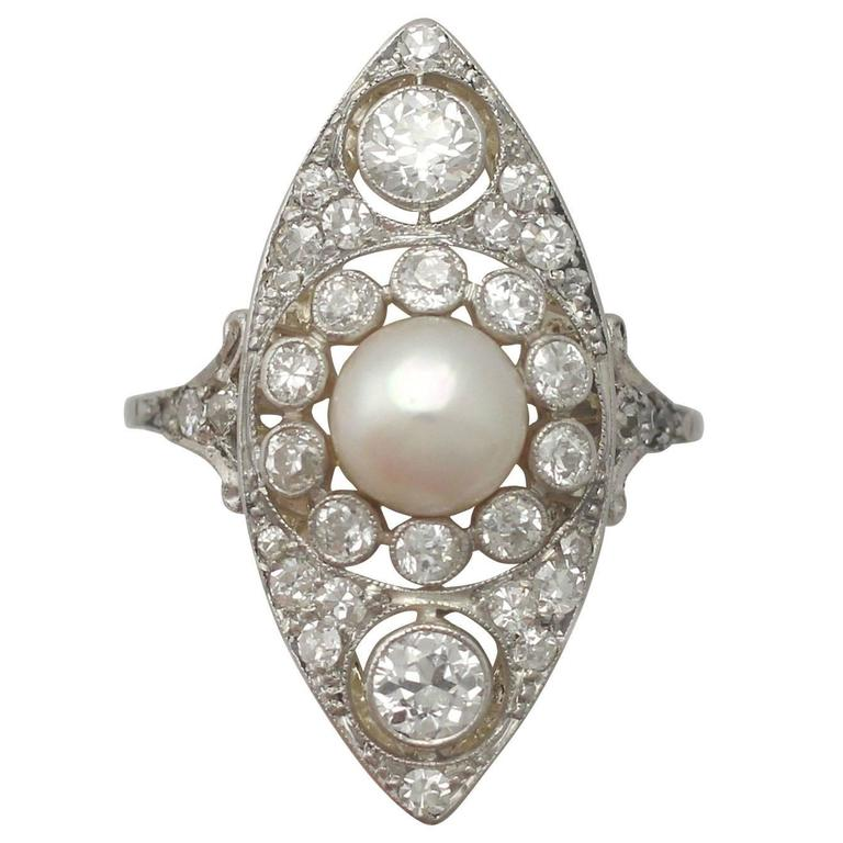 Antique 1910s Pearl and 1.84 Carat Diamond, 14k Yellow Gold Marquise Ring For Sale