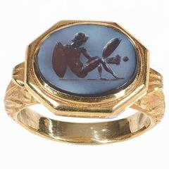 Antique Roman Agate Intaglio Ring