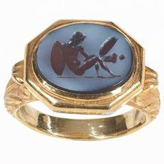 Antique Roman Agate Intaglio Ring