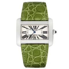 Cartier Ladies Stainless Steel Tank Divan Quartz Wristwatch