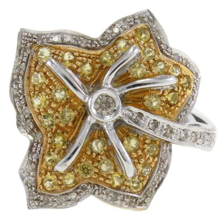 Topaz Diamond Gold Leaf Ring