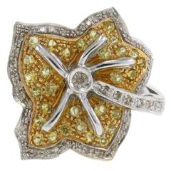 Luise Topaz Diamond Gold Leaf Ring