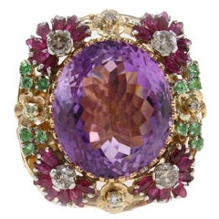 24.93 ct Amethyst Tsavorites, 0.74 ct  Diamonds, 1.85 ct Rubies Rose Gold Ring
