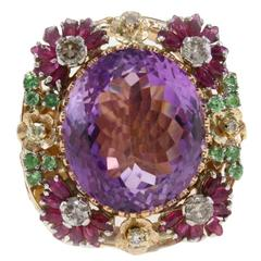 Luise Amethyst Diamond Gold Ring