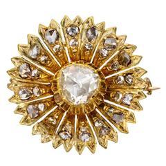 Antique Diamond Gold Flower Pin