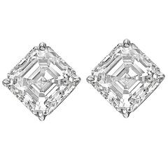 Betteridge 6.02 Carats Asscher Diamonds Platinum Stud Earrings
