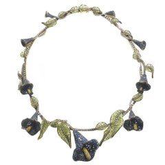 Sapphire Diamond Calla Lilly Necklace