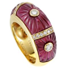 Cartier Pink Tourmaline Diamond Gold Band Ring