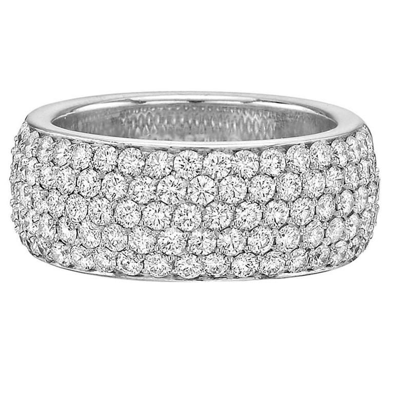 Cartier 5-Row Diamond Gold Eternity Band Ring For Sale