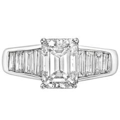2.02 Carat GIA Cert Emerald-Cut Diamond Platinum Engagement Ring