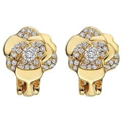 "Chanel Small Diamond Gold ""Camelia"" Earclips"