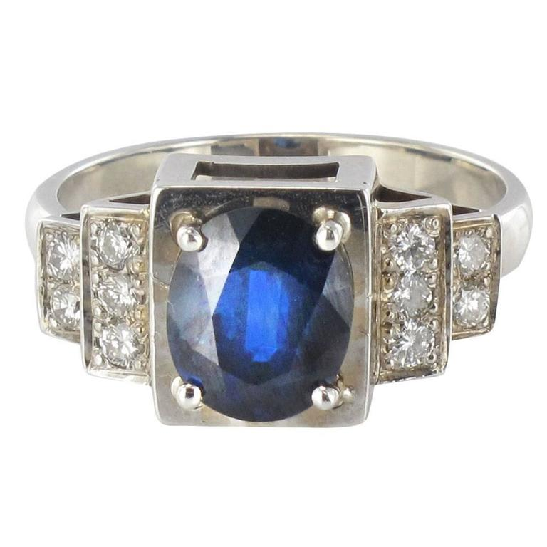Contemporary Sapphire Diamond Gold Ring For Sale