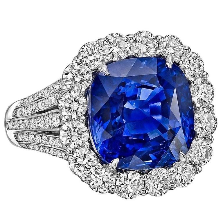 Robert Procop 9.10 Carat Ceylon Sapphire Diamond Platinum Ring