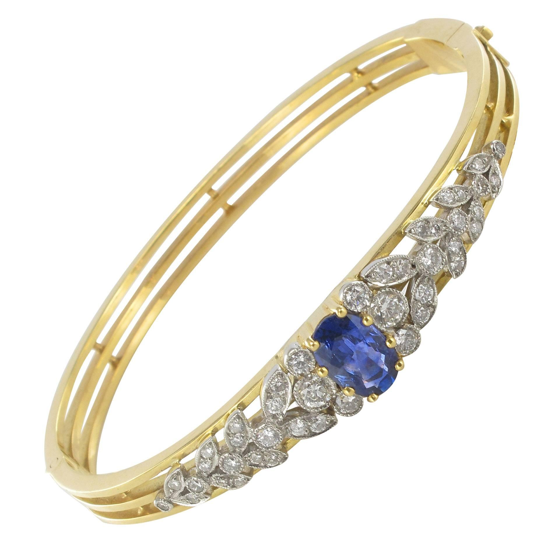 Sapphire Diamond Gold Bangle Bracelet