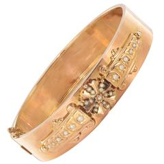 French Napoleon III Ntaural Pearl and Rose Gold Bangle Bracelet