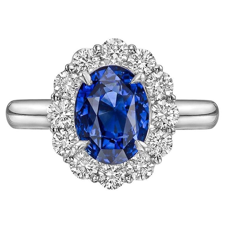 sapphire platinum cluster ring at 1stdibs