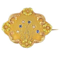 French Art Nouveau Sapphire and Fine Pearl Brooch