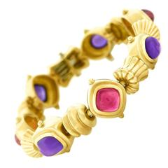 1980s Seidengang Tourmaline Amethyst Gold Bracelet