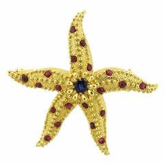 Tiffany & Co. Schlumberger Sapphire Ruby Gold Starfish Brooch Pin