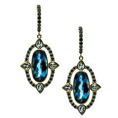 Sloane Street 8.00 Carat Blue Topaz .90 Carat Blue Diamond Gold Earrings