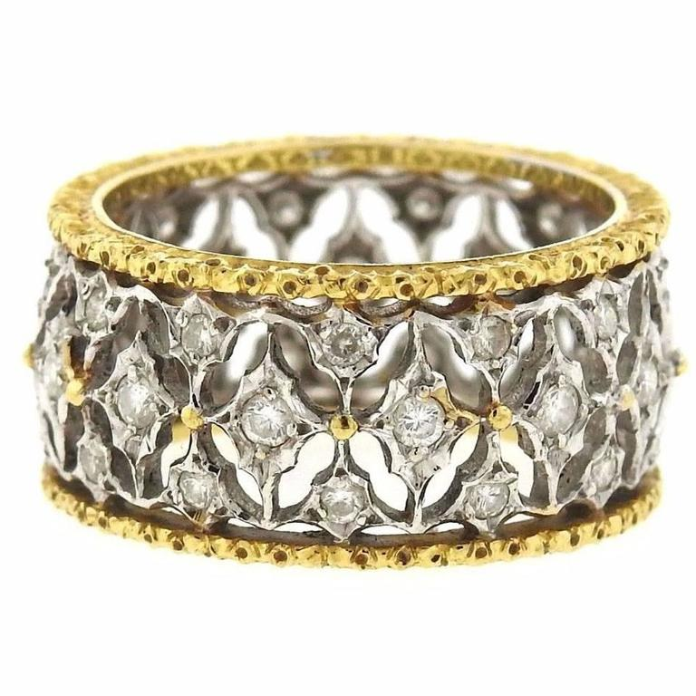 buccellati diamond two color gold open work wedding band