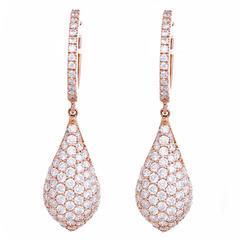 Amazing Pave Diamond Gold Teardrop Earrings