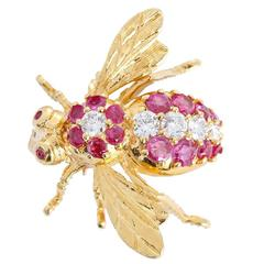 Rosenthal Ruby Diamond Gold Large Bee Pin