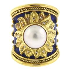 Elizabeth Gage Enamel Pearl Diamond Gold Ring