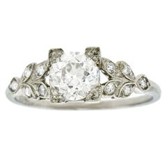 1930s Art Deco .90 Carat GIA Cert Diamond Platinum Engagement Ring
