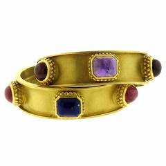 1987 Kieselstein Cord Gemstone Gold Cuff Bracelets