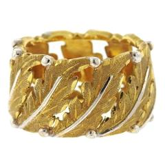 Buccellati Two Color Gold Leaf Band Ring