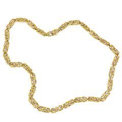 1960s Boris LeBeau Diamond Gold Organic Link Chain