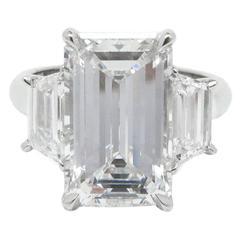 5.90 Carat GIA Cert Emerald Cut Diamond Platinum Ring