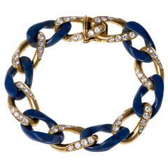 1970s Bulgari Chalcedony Diamond Gold Bracelet