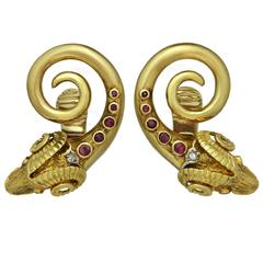 Ilias Lalaounis Ruby Diamond Gold Ram's Head Earrings