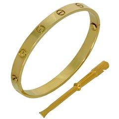 Cartier Gold Love Bangle Bracelet. Sz.18