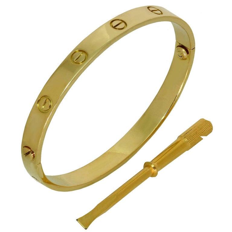 Cartier Gold Love Bangle Bracelet. Sz.18  For Sale